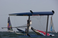 Red Bull Extreme Sailing Team capsize on Day 4, Muscat.
